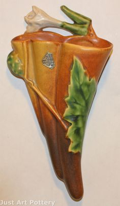 Roseville Pottery Thornapple Brown Wall Pocket 1280-8 from Just Art Pottery