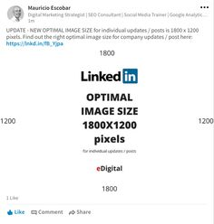 LinkedIn new optimal image size dimensions individual profile update post with link to web page 1800x1200 pixels