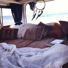♡Pinterest: Pneyati --- sleeping in your old fashion van  ^^100% adventure^^