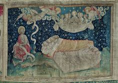 Bataille,Nicolas (1373-1387)  Apocalypse d'Angers,1373-1387, a series of tapestries woven for Louis I.,Duke of Anjou. #52 The Sleep of the Just. Apo 14: 13   Musee de la Tapisserie, Angers, France