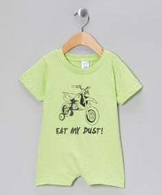 Take a look at this Rainbow Swirlz Key Lime 'Eat My Dust' Romper - Infant by Rainbow Swirlz on #zulily today!