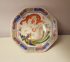 Early 20th Century China Chinese Asian Bat Phoenix Dragon Bowl Qing Dynasty