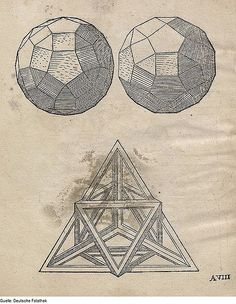 Page from Geometria by Augustin Hirschvogel (1503–1553), a German artist, mathematician, and cartographer known primarily for his etchings. In this version from the Deutsche Fotothek, amid the rigid lines of the geometrical sketches appear the chaotic forms of stains which lie on each of the pages.