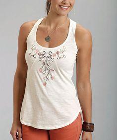 Look what I found on #zulily! White Embroidered Boyfriend Racerback Tank - Women by Stetson #zulilyfinds