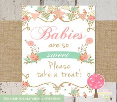Babies are sweet please take a treat, Baby Shower Sign, Shabby Chic Baby Shower, Pink and Mint, Peach, Printable Sign, Matching,…