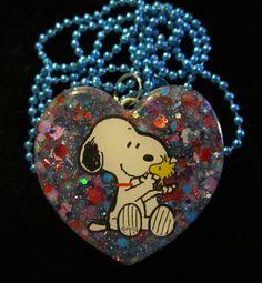 Woodstock & Snoopy Dog Necklace Handmade Glitter Resin Heart Blue Ball Chain #HandmadebyMe #ResinHeartCharmPendant