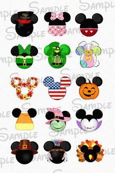 "Various Holiday inspired Mouse Head DIGITAL Bottle Cap image sheet 4x6 1"" inch DIY"