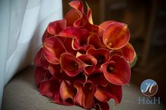 Orange calla Lily bouquet by X-Quisite Flowers & Events.