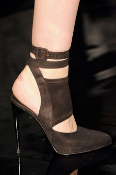 Donna Karan Brown Cut-Out Ankle Strap Pumps Fall 2014 #Shoes #Heels