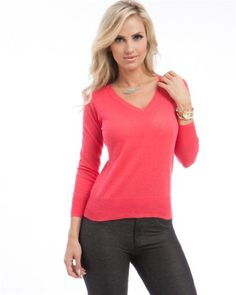 Chic Women's Lightweight Pullover V-Neck Sweater Best Sellers, New Fashion, Pullover Sweaters, Sweaters For Women, Coral, V Neck, Chic, Free Shipping, Clothes