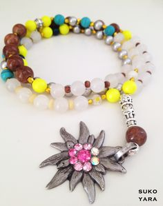 ☮ Edelweiss Hippie necklace ☮ with SWAROVSKI Elements