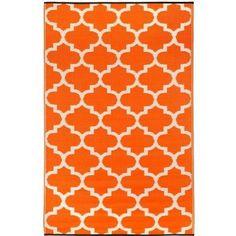 4' x 6' Reversible Indoor / Outdoor Area Rug in Orange White Trellis Pattern