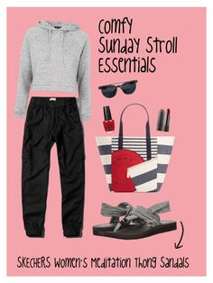 """Comfy Sunday Stroll Essentials"" by gotcha-michel on Polyvore featuring Skechers, Abercrombie & Fitch, Topshop, Tommy Hilfiger and OPI"