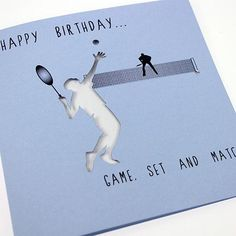Custom tennis greeting cards guys tennis birthday party handmade sports greeting card tennis happy birthday game set m4hsunfo Choice Image