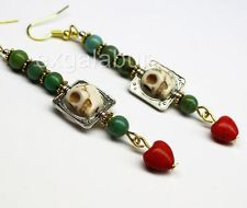 Day of the Dead Dia de los Muertos Long Earrings Turquoise Red Heart Jewelry USA