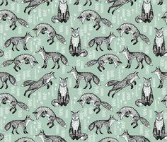 Houses Mustard Cotton Fabric Foxes Garden Modern Indie Fox Grove
