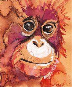 Baby Orangutan Artistsigned Watercolor Print by CanyonWrensNest, $12.99