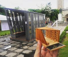 The Book Stop is a portable pop-up shop, meaning it can move and open up anywhere. The first one launched in an urban park in Makati, Philippines. Temporary Architecture, Conceptual Architecture, Public Architecture, Architecture Sketchbook, Architecture Awards, Architecture Design, Bus Stop Design, Small Gazebo, Conceptual Sketches