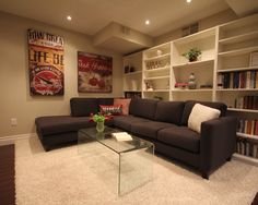 Good shelving unit, big posters.  Contemporary Basement Design, Pictures, Remodel, Decor and Ideas - page 8