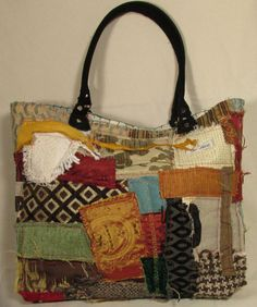 Boho Chic, One of a kind, Handmade, Fiona Collage fabric Tote bag