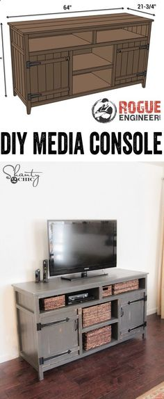 LOVE this DIY Media Console! Free Plans and tutorial! www.shanty-2-chic...http://www.shanty-2-chic.stfi.re/2015/07/diy-media-console-free-plans.html?sf=xnpvrlp