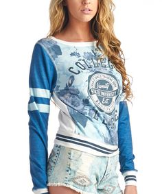 Love this Off-White & Blue 'College League' Top by Charlie Charlie on #zulily! #zulilyfinds