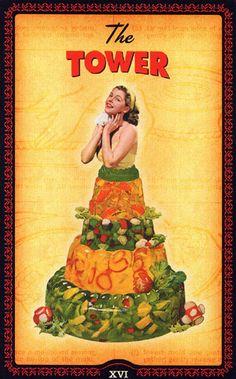 The Housewive's Tarot by Paul Kepple And Jude Buffum (2004)  Divertida baraja empaquetada en una caja de recetas al estilo retro americano de los años 50'