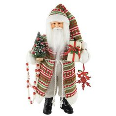 """Inexpensive, Traditional, Cute Sweater Claus Made From Fabric and Resin - 15.5"""" H X 4"""" W X 8.25"""" D. #SantaClaus #Santa #Claus #Christmas  #Figurine #Decor #Gift #gosstudio .★ We recommend Gift Shop: http://www.zazzle.com/vintagestylestudio ★"""
