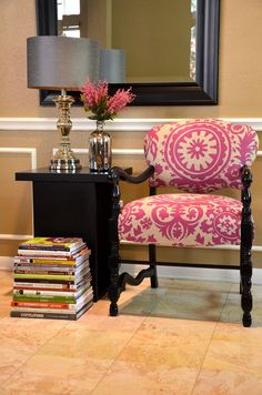Accent Chair in Suzani Print Upholstered