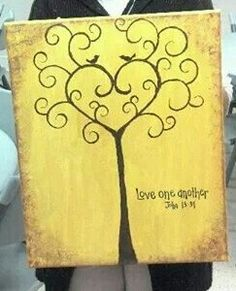 52 ideas for diy canvas art for kids heart Diy Canvas Art, Canvas Crafts, Diy Wall Art, Diy Art, Tree Canvas, Flower Canvas, Painted Canvas, Diy Painting, Painting & Drawing