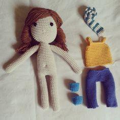 I love crochet!: Po prostu Lala :) #doll #crochet #szydełko #craft #handmade #fashion #hair #trousers #top #toy #amigurumi www.hookedlife.blogspot.com