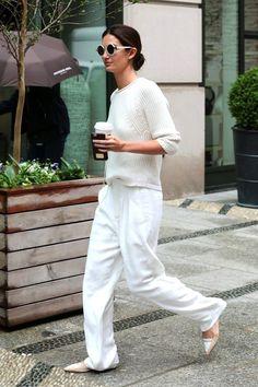 Le Fashion Blog Lily Aldridge Street Style All White Fall Look Round Sunglasses Ribbed Knit Slouchy Pants Nude Two Tone Tabitha Simmons Flats Via Zimbio
