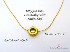 Gold Circle Necklace Gold Hematite Circle Freshwater Pearl