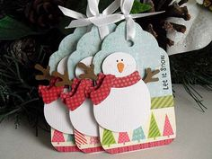 Sale Let It Snow SNOWMAN Tags by StephanieMatsunaka on Etsy