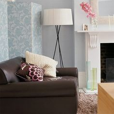 Summer living room Create a summery feel in your living room, with a wall of floral wallpaper from Villa Nova. Living Room Yellow And Brown, Duck Egg Blue Living Room, Living Room Lounge, Living Room Grey, Living Room Decor, Living Area, Living Rooms, Living Room Styles, Decorating Ideas