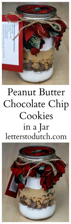 Peanut Butter Chocolate Chip Cookies in a Jar Jar gifts are genius and a lot of fun to make. Free tutorial and printables in this post! Mason Jar Cookie Recipes, Mason Jar Desserts, Mason Jar Cookies, Cookie Jars, Jar Recipes, Cookie Mixes, Cooking Recipes, Chocolate Chip Cookies, Chocolate Diy
