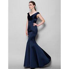 LAN+TING+BRIDE+Floor-length+Satin+Bridesmaid+Dress+-+Trumpet+/+Mermaid+V-neck+with+Criss+Cross+–+USD+$+79.99