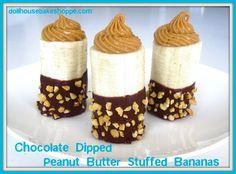 Chocolate Dipped Peanut Butter Stuffed Bananas recipe from @Lindsay Ann - Dollhouse Bake Shoppe