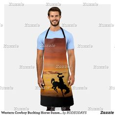 Western Kitchen Decor, Sunset Background, Summer Bbq, Western Cowboy, Artwork Design, Westerns, Apron, Cool Designs, Arts And Crafts