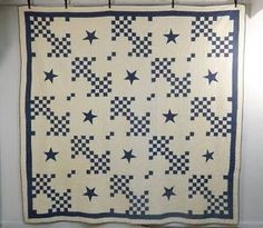 """Blue and White Antique Quilts   ... """"Cubed Lattice w Star"""" Antique Quilt 12 SPI   eBay, beans-and-frank"""