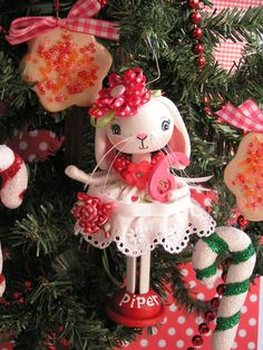 AVAILABLE..Birthday Cake Topper and Christmas Tree Ornament  Keepsake, Baby Shower, Clothespin Doll, Birthday Gift,  Kids, bunny