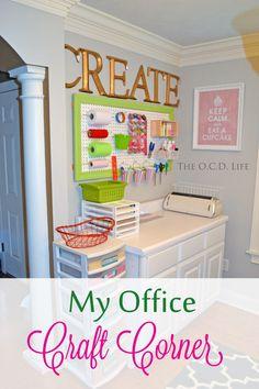 The O.C.D. Life: My Office Craft Corner!  #pegboard #craft #office #organization