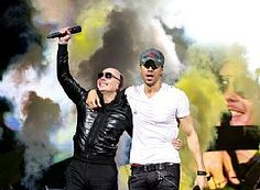 Pitbull and Enrique Iglesias team up at Frank Erwin Center in Austin, Texas, Feb. 7. (Rick Kern)