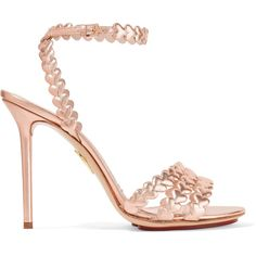 Charlotte Olympia - I Heart You Laser-cut Metallic Leather Sandals ($356) ❤ liked on Polyvore featuring shoes, sandals, heels, rose gold, strappy heeled sandals, metallic strappy sandals, metallic leather sandals, heeled sandals and high heel platform sandals