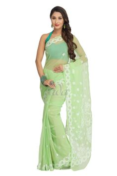 Ada Hand Embroidered Green Faux Georgette Lucknow Chikan Saree With Blouse-A130173 Price Rs.2,290.00 #Ada_Chikan #chicken work dress #lucknow chikankari sarees online #lucknow shopping chikankari #lucknow work sarees #lucknow chikan dress material online shopping #lakhnavi embroidery sarees #lucknow dress #for women