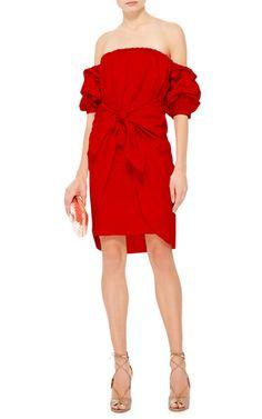 Red Cotton Off The Shoulder Poppy Dress by Johanna | Moda Operandi