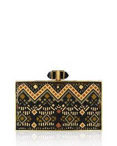 V35BU Judith Leiber Couture Coffered Rectangle Evening Clutch Bag, Champagne/Jet