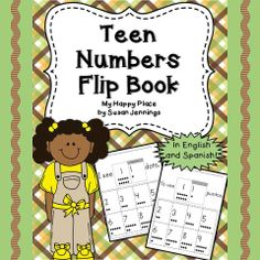 {FREEBIE} Teen Number Flip Book in English and Spanish--Common Core K.NBT.A.1: Compose and decompose numbers from 11 to 19.