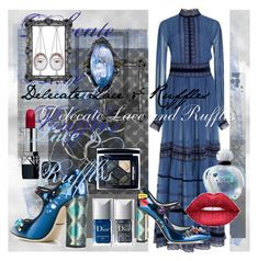 """""""Feeling Blue"""" by pretty8happy ❤ liked on Polyvore featuring Dolce&Gabbana, Christian Dior, Dreamgirl, Polaroid, Axenoff Jewellery and Sevan Biçakçi"""