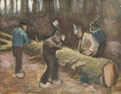 Art of the Day: Van Gogh, Woodcutters, December 1883-January 1884. Black chalk and watercolor on wove paper. Kröller-Müller Museum, Otterlo.